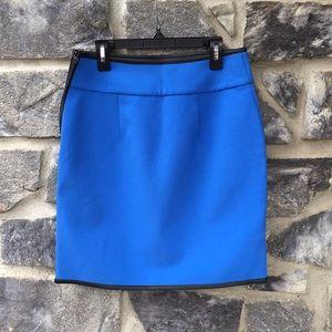Ann Taylor Side Zip Crepe Atlas Blue Skirt